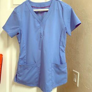 Tops - Ceil Blue Purple Heart scrub top
